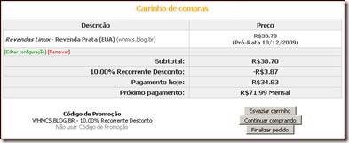 Cupom de  10% - Recorrente