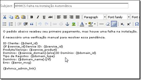 Email Template Traduzido