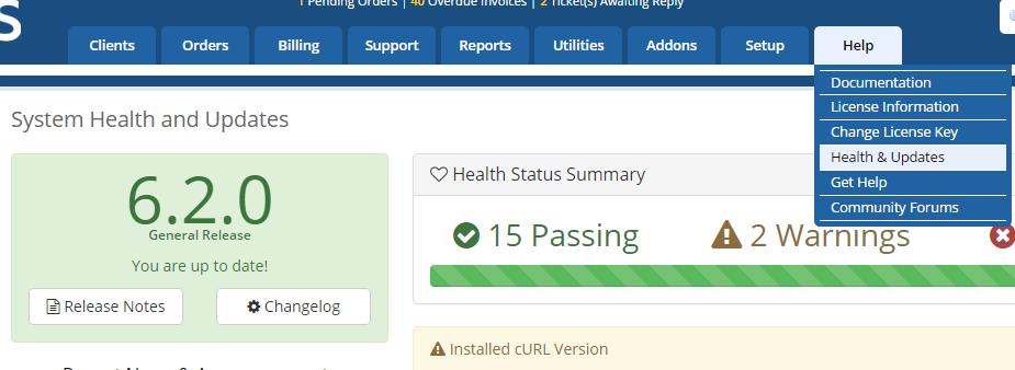 WHMCS Instalado - v6.2.0