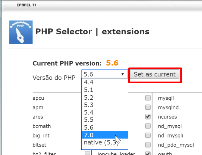 Alterando Versão PHP